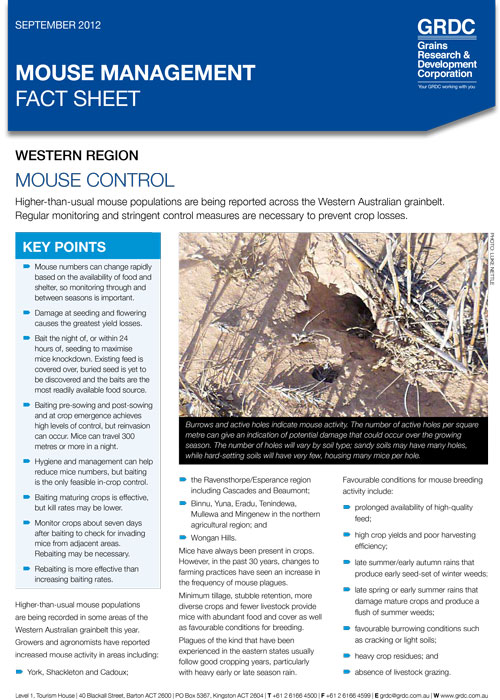 Mouse management: Mouse control fact sheet - western region