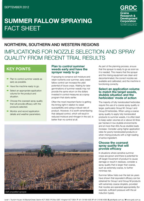 Summer fallow spraying fact sheet