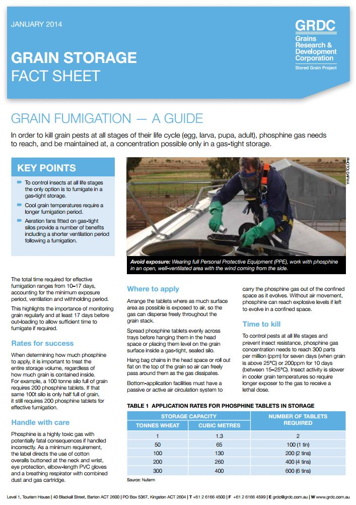 Grain storage fact sheet: Fumigation