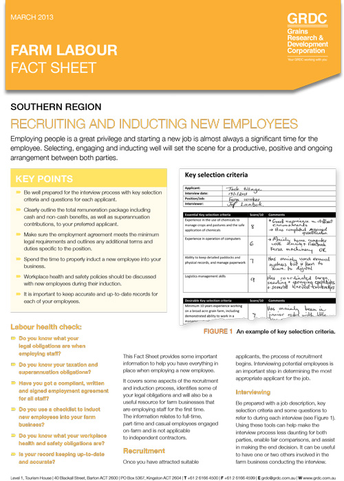 Farm Labour: Recruiting and inducting new employees fact sheet thumbnail image