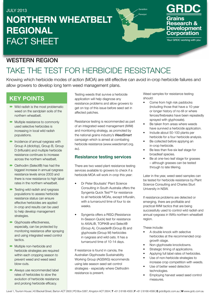 Image of Take the Test for Herbicide Resistance GRDC Fact Sheet
