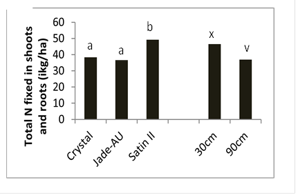 Figure 9. Differences in total shot and root nitrogen by variety and row spacing, Kingaroy 2012/13