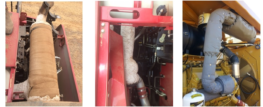 Figure 1. Left and centre: Examples of muffler and exhaust system insulation in South Australia in 2014. Right: Thermal blankets as used in marine and mining equipment applications.