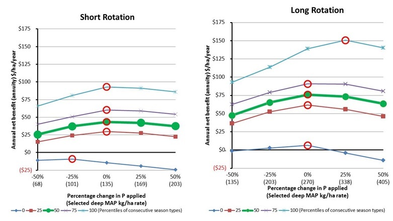 Figure 2. The real annual net benefit of deep-P (MAP) placement of a short and long rotations with respect to different seasonal outcomes: percentile = 0 is the worst-case scenario, 100 is the best case, and 50 is the expected outcome. The red circles indicate the optimal application rate for the given seasons.