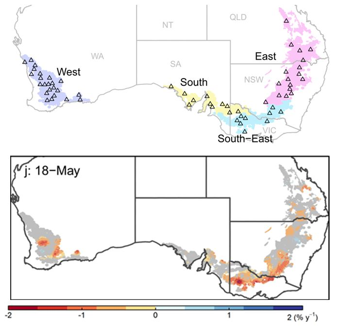Heat map of Australia showing regions for which climate data were analysed for frequency and severity of frost