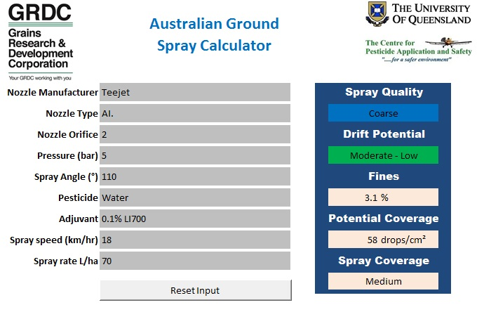 Example of a web based calculator for agricultural spray performance