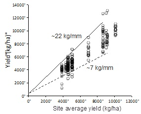 Figure 1. Example of a performance graph representing the yield of different hybrids across a number of sites having different yield potential.