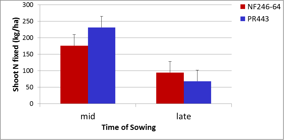 Figure 4. Nitrogen fixation is reduced when soybeans are sown late in the planting window (LSD 5%=33).