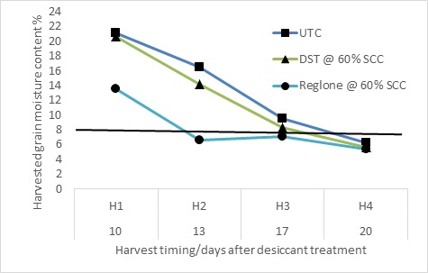Figure 1. Harvested grain moisture content at four harvest timings in response to various desiccation treatments- Wellington 2013