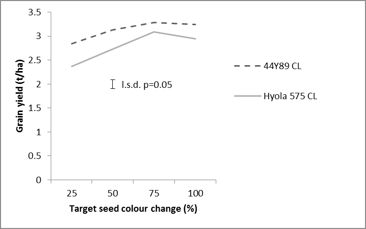 Figure 3. Grain yield of two canola varieties as affected by windrow timing at four target seed colour change timings at Trangie in 2015.