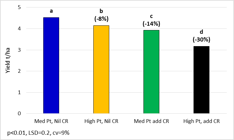 Figure 9.  Wheat mean yields for six varieties with or without added crown rot (CR) inoculum. The six varieties include Spitfire, Sungard, EGA Gregory, Sunmate, Mitch and Elmore CL.