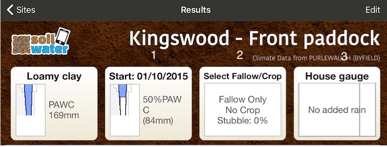 Figure 1. Screenshot of SWApp allowing user to input relevant soil data