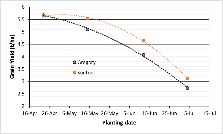 Figure 3. Yield of wheat at four sowing times, Narrabri 2014 (Graham et al 2015)