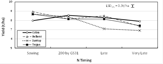Figure 5. Effect of N strategy on yield of quick varieties at Spring Ridge, 2015