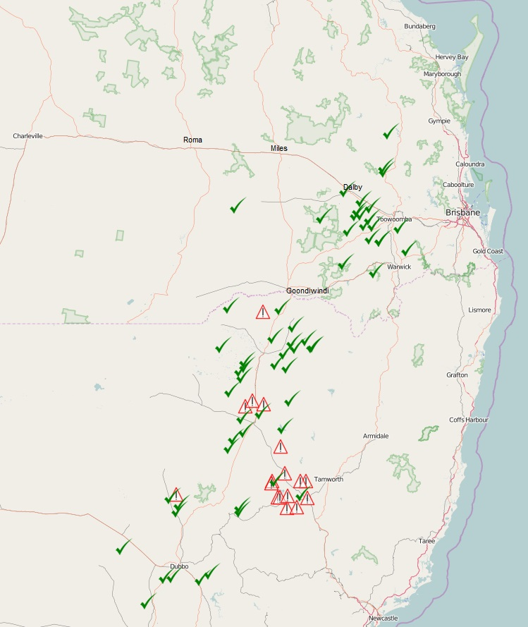 Figure 1. Map showing the location of tested populations. Green tick = susceptible, Red triangle = resistant.