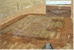 Figure 2. Wetting up for DUL determination and rainout shelter used for CLL determination.