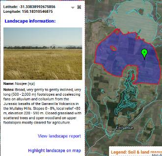 Figure 7. Example of soil-landscape mapping available for parts of NSW through ESpade. Mapping unit description is available through a pdf report and the landscape can be highlighted on the map.