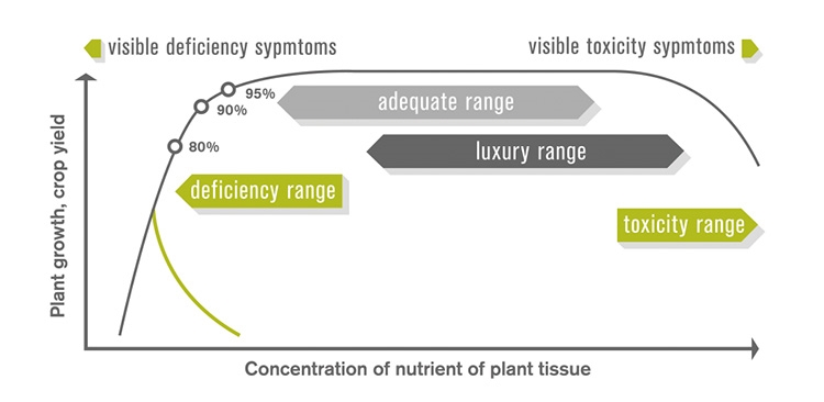 Figure 1. Relationship between nutrient concentration in plant tissue and yield or growth (Adapted from Marschner, 1995) (Image from Mosaic, http://www.cropnutrition.com/efu-plant-analysis)