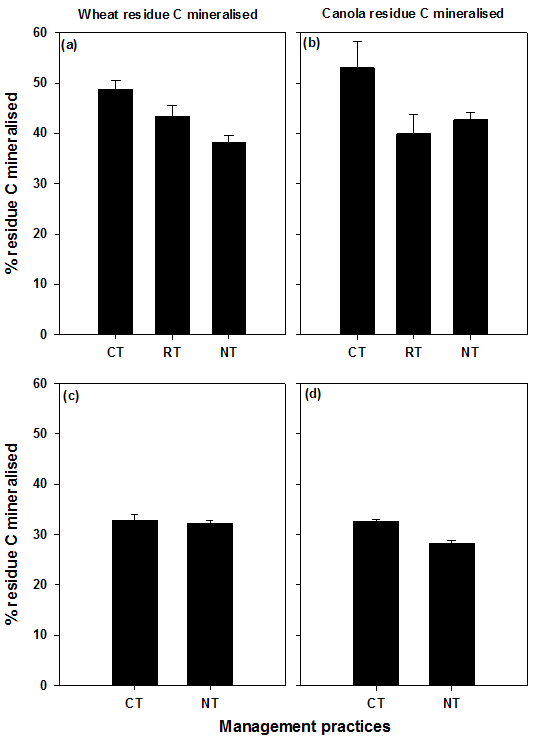 Figure 2. Cumulative percent of residue carbon (C) mineralised, over four months of laboratory incubation. Wheat (left panel) and canola (right panel) stem residues were incorporated in the red soil (top panel) and cracking clay soil (bottom panel) under contrasting tillage systems at Condobolin and Hermitage. See expanded abbreviation of treatments (CT, RT, NT) in the methodology section. Least significant differences at P ≤ 0.05 were LSD0.05 = 6.3 and 2.2 for residue C mineralised in the red soil and the cracking clay soil, respectively.