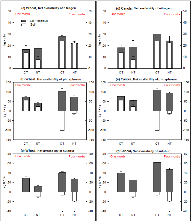 Figure 4. Impact of tillage practices at the Hermitage site (Qld) on net availability of nitrogen (a, d), phosphorus (b, e) and sulphur (c, f) released from soil only, and soil plus added wheat (left panel) and canola (right panel) residues over one month and four months of laboratory incubation. See expanded abbreviation of treatments (CT, NT) in the methodology section for the Hermitage site. Least significant differences at P ≤ 0.05 were LSD0.05 = 9.5, 18.0 and 8.0 for the net availability of nitrogen, phosphorus and sulphur, respectively, over one month; and LSD0.05 = 7.8, 30.0 and 8.9 for the net availability of nitrogen, phosphorus and sulphur, respectively, over four months in the cracking clay soil.