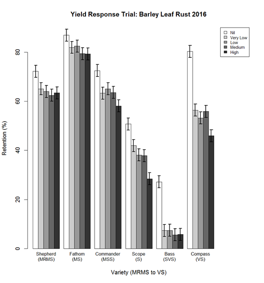 Figure 3. Response in retention percentage of barley varieties to different disease levels in 2016.
