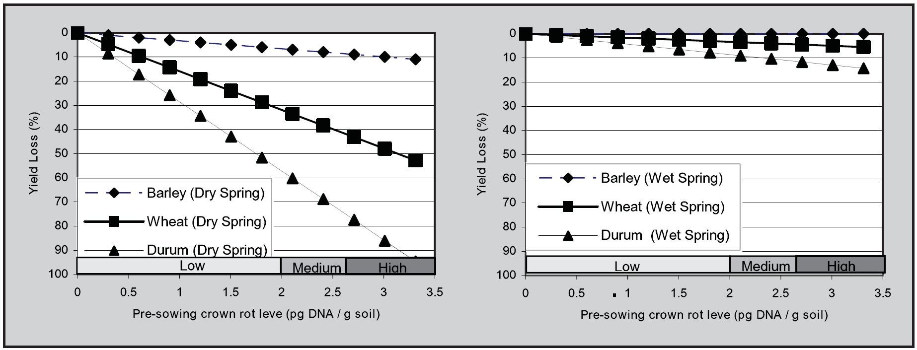 Figure 2. A graphical representation of the relative effect of increasing pre-sowing crown rot inoculum levels, as determined using PredictaB, on grain yield loss (%) in three cereals in seasons with below average combined September and October rainfall (left) and above average rainfall for the same period (right) using 26 data sets collected in Victoria and South Australia during the years 2005 to 2010 (Hollaway et al. 2013).