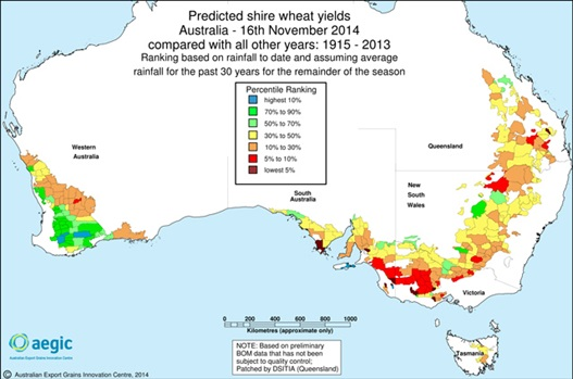 Figure 3. Example of a predicted shire wheat yield map.