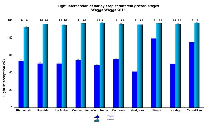 Figure 7. Differences in per cent light interception at two critical growth stages of barley.