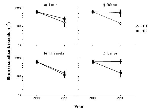 Figure 3: Change in brome grass seed bank in response to herbicide strategy (HS1 and HS2) in lupin (a), TT-canola (b), wheat (c), and barley (d) crop phases at Balaklava in 2015. Detailed description of herbicide strategies are presented in Table 5. Vertical bars represent SE. The initial brome grass seed bank was 626 seeds/m.