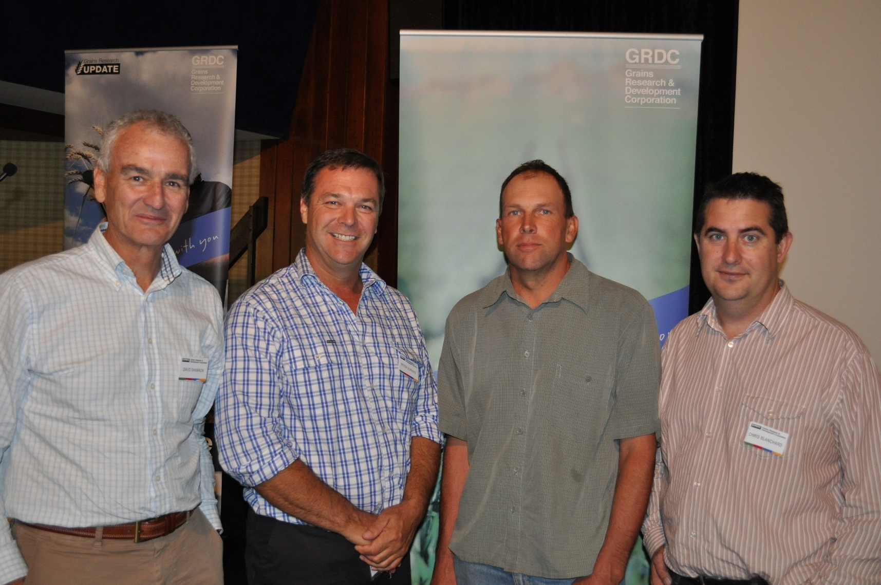 David Shannon, GRDC Southern Regional Panel chairman; Peter Schwarz, GRDC Southern Regional Panel deputy chair; Craig Reynolds, Shepparton (Vic) district grower; Dr Chris Blanchard, GRDC Southern Regional Panel member, Charles Sturt University, Wagga Wagga.